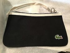 French Lacoste Black Wristlet Clutch Handbag Cosmetic Case Pouch Bag w Alligator