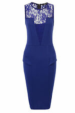 OASIS Lace Detail Peplum Dress in Blue Size 8 to 16