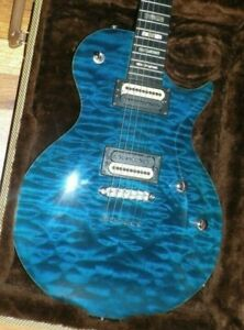 Carvin Custom CS6 Blue Quilted Maple top, Abalone markers, 5 piece neck, Case