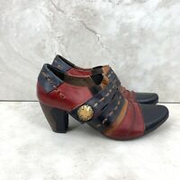 L'Artiste Spring Step Women 39 8.5 Wondrous Ankle Boots Black Red Leather Heel