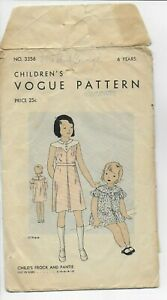 Vogue Childs Frock And Pantie 3356 Original Vintage Sewing Pattern 6 Years 1930s