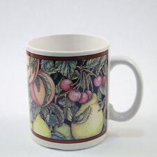 1993 Santa Barbara Ceramic Coffee Mug Tea Cup Fruit Laurie Lim Ball Cherry Pear