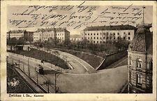 Zwickau Sachsen 1918 Stempel auf Feldpostkarte mit Tram Straßenbahn a.d. Kaserne