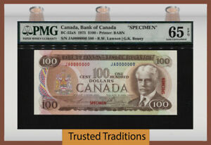 "TT PK BC-52aS 1975 CANADA $100 SPECIMEN ""SIR ROBERT BORDEN"" PMG 65 EPQ GEM UNC."