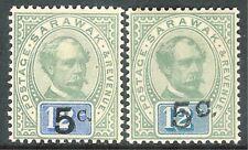 Sarawak 1889 green/blue 5c on 12c Sur 8 green/blue 5c on 12c Sur 9 mint SG25/26