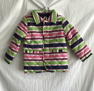 Magna Mini Quilted Girls Toddler Coat Sz 3 Magnetic Closures BlueGreenPinkWhite