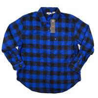 Levi's Women's Utility Shirt Long Sleeve Button Flannel Blue Buffalo Plaid S M