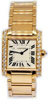 Cartier Tank Francaise 18k Yellow Gold & Diamond Ladies Watch 1821