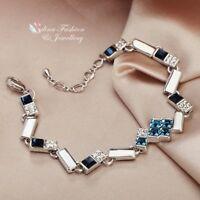 18K White Gold Filled Made With Swarovski Crystal Curved Rectangle Bracelet