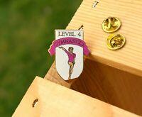 "Level 4 Gymnastics Gold Tone Metal & Enamel 2007 1 1/4"" Lapel Pin Pinback"