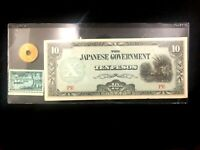Japan Government 10 Pesos WW2 Bill, US-Japan Stamp & Used Japan 5 Yen Coin
