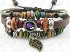 Adjustable Surfer Tribal Hemp Leather Bracelet Wristband Mens Womens Leaf
