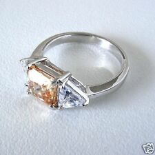 3 Stone Sterling Ring Citrine CZ Solitaire Clear Accent