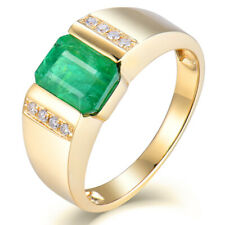 1.45Ct Green Emerald Solid 14K Yellow Gold Natural Diamond Engagement Mens Ring