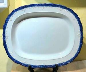 "Huge Antique Leeds Type Blue Feather Edge Pearlware Platter, 19"", c 1820"
