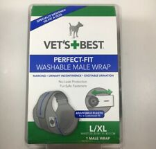 VET'S BEST PERFECT FIT WASHABLE DOGGIE PET MALE WRAP WRAPS SIZE L XL