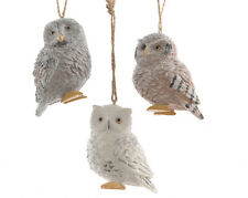 3 x assorted OWL Baubles Hanging Decorations Vintage Style Christmas Tree Bauble