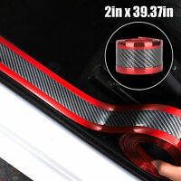 "2x 39"" Auto Carbon Fiber Rubber Styling Stickers Car Door Sill Scuff Protector"