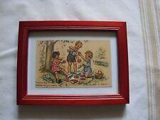 carte postale ancienne Germaine Bouret avec son cadre dessin enfant pique nique
