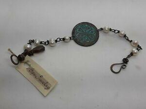 HOPE Jewelry FW Pearls W/Blue Patma Brass Copper Bracelet Smokey Quartz & Garnet