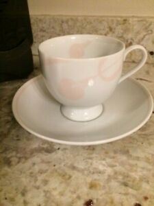 "MIKASA FINE CHINA CLASSIC FLAIR PEACH 3"" Footed Coffee Cup and Saucer"