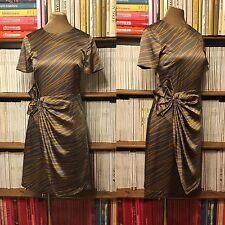 STEFFEN SCHRAUT grey gold print bow silk draped knee length wrap dress UK 8-10