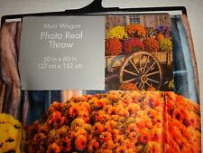 "MUM WAGON~FLOWERS~Multi Color~Photo Real Throw Silky Fleece Blanket 50"" x 60"""