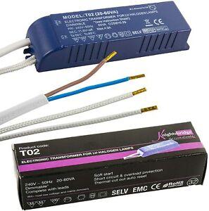 240v to 12v Transformer 60W Dimmable Low Voltage Halogen Lighting Driver Adapter