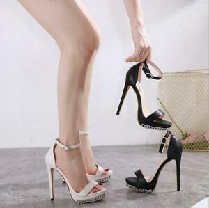 Sexy Womens Ankle Strappy Buckle Shoes Stiletto High Heels Platform Sandals Size