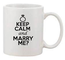 Keep Calm And Marry Me Wedding Ring Groom Bride Funny Ceramic White Coffee Mug