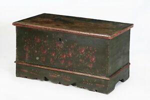 19th Century American Polychrome Handpainted Chest Trunk