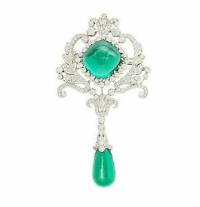 925 Sterling Silver Brooch Pin Green Cabochon Vintage Style Handmade Round CZ