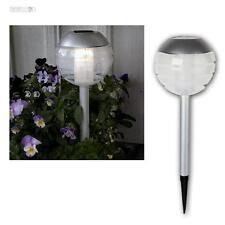 LED Solar Gartenleuchte Wegleuchte silbergrau Ball, warmweiß, Gartenlampe 30cm