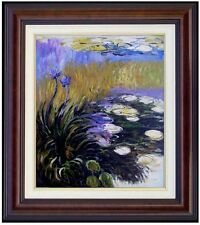 Framed Claude Monet Agapanthus Repro, Hand Painted Oil Painting, 20x24in