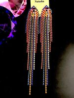 NWT SENSATIONAL NATASHA GOLD-TONE MULTICOLOR RHINESTONE SHOULDER DUSTER EARRINGS