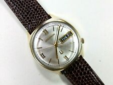 1972 BULOVA USA ACCUTRON 2182 mens day/date watch 14K Gold Filled very SHARP