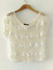 Jane Norman Women Ivory White Crochet Cap Sleeve Top Size UK10
