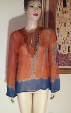 "Bohemian ""alex kim "" India Ombre Festival Beaded Silk Blouse PS"