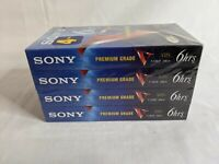 Lot of 4 Sony T-120 Blank VHS VCR Standard Grade Video Tapes 6 Hrs New Sealed