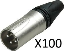 Lot of 100 Neutrik NC3MXX Male XLR 3-Pin Connectors, Nickel with Silver Contacts