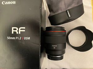 Canon RF 50mm f1.2 L USM Lens with Hood, Lens Pouch, & Box #33484
