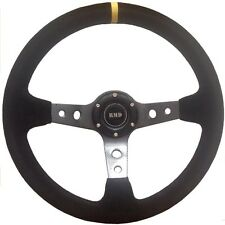 "Steering Wheel Dished (3"") 350mm Suede With Carbon Effect Spokes - SVi-4152BSUC"