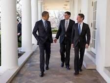 Old Photo. Barack Obama - Jack Lew - Timothy Geithner