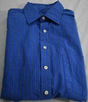 Merona Shirt Mens Medium Blue With White and Black Stripes Long Sleeve