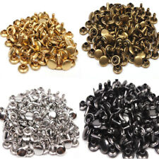 50x Brass Double Cap Rivet Studs Snaps Rivets Leather Craft Buttons Decor Repair