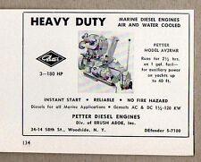 1958 Print Ad Petter Marine Diesel Engines Woodside,NY