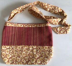 Handmade Shoulder Bag, Purse, Apple Print