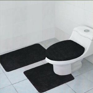 3-Piece Quinn Solid Bathroom Rug Set Bath Mat Contour Toilet Lid Cover 11 Colors