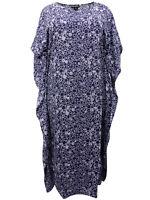 Eaonplus ladies kaftan dress plus sizes 22-26 28-34 navy blue circle print soft