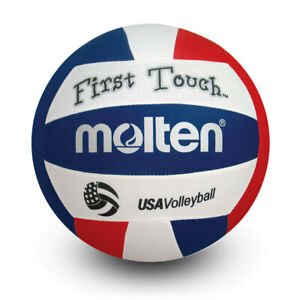 Molten First Touch Volleyball V140 Youth 4-6oz Red/White/Blue